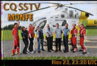 SSTV image sent by Nick M0NFE, captured by Pete M0PSX