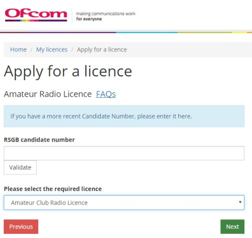Ofcom - Applying for your amateur radio licence