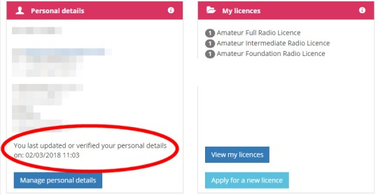 Ofcom Licensing - Date of last verification
