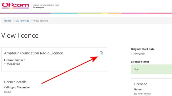 Download your licence from the Ofcom website