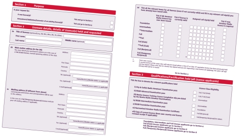 Sample pages of the Ofcom Amateur Radio licence