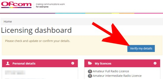 Update details on the Ofcom licensing website