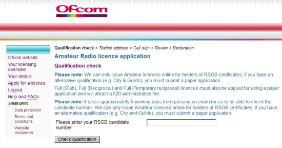 OfCom Site Licence Application