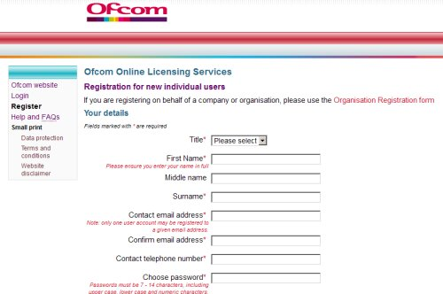 Register with OfCom