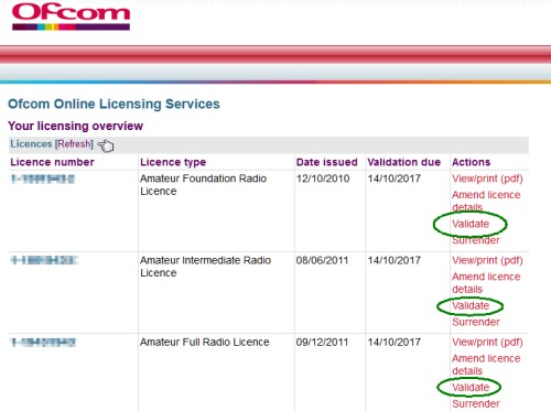 Ofcom Licence Validation Screen