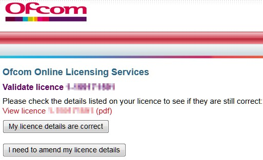 Ofcom Revalidation Confirmation Screen