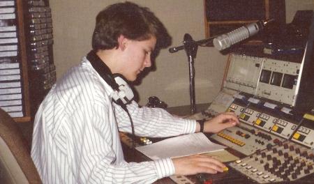 Pete, in Essex Radio Studio 1, in 1986