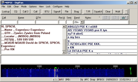 Digipan, showing PSK31 from the receiver