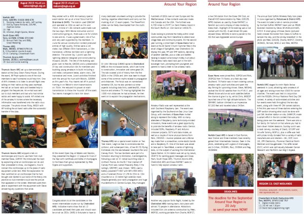 Essex amateur radio featured in Radcom August 2015
