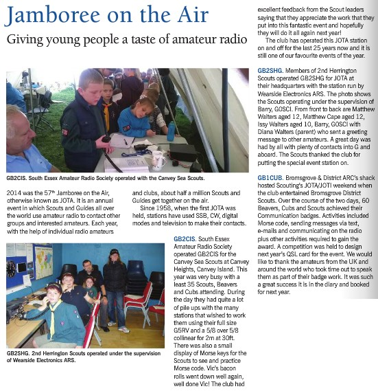JOTA GB2CIS featured in RadCom Jan 2015