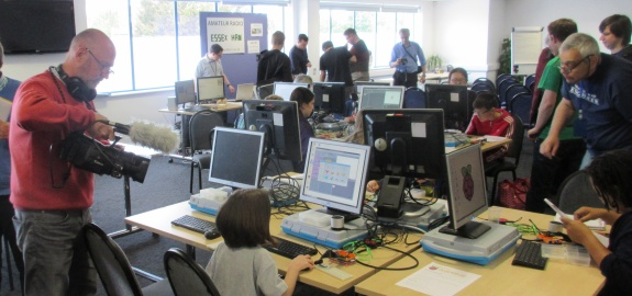 Essex Ham's youngest member getting hands-on with Scratch at the Raspberry Jam