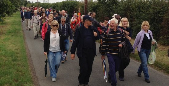 Bradwell Pilgrimage walkers heading to the chapel