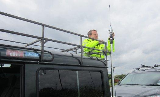 Gareth 2E0PSN de-rigging the mast at checkpoint 4