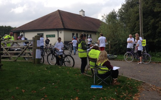 Riders stopping for a rest at the Pleshey checkpoint