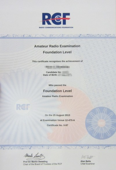 RCF Foundation Pass Certificate 2013
