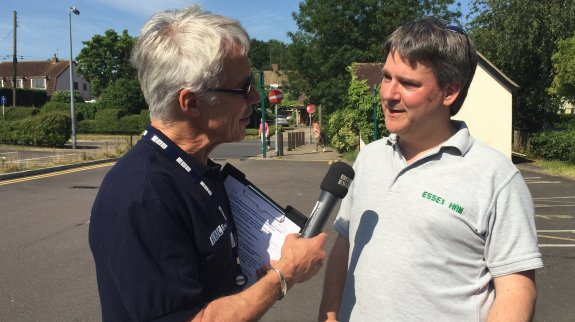 Peter from BBC Essex interviewing Pete M0PSX