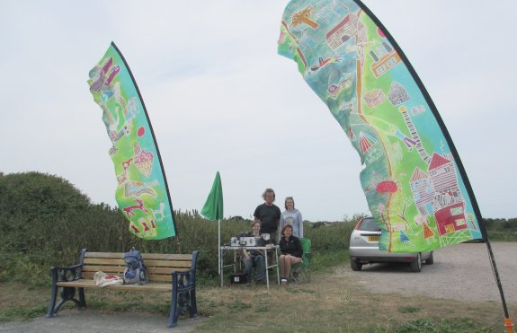 The HF and VHF flags on the bank of the River Crouch