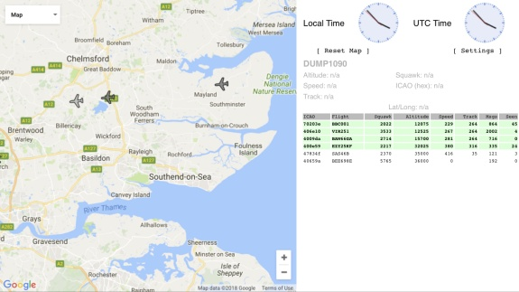 Aircraft data from the dongle, viewed on a browser