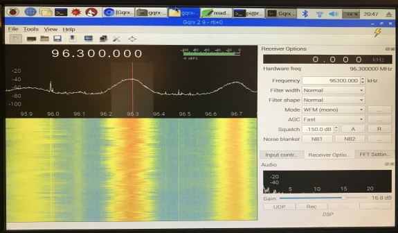 GQRX running on a Raspberry Pi, tuned to broadcast radio