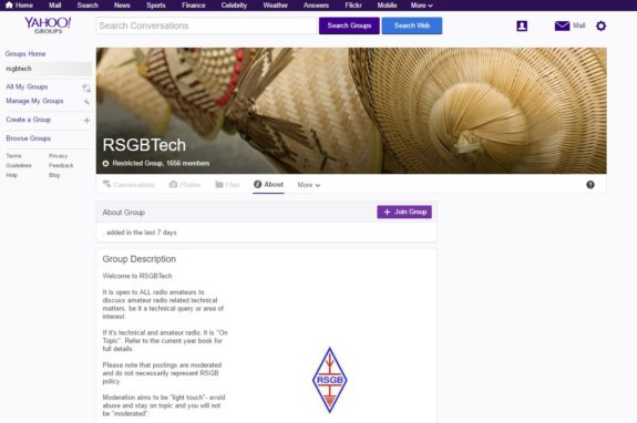 Screenshot of RSGBTech Yahoo Group Front Page (March 2017)