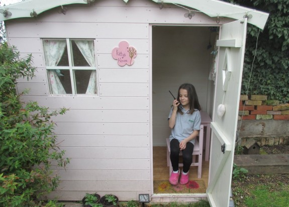 Kathryn in her pink shed. Sadly no licence yet, so SWL-only for SAGHOTA