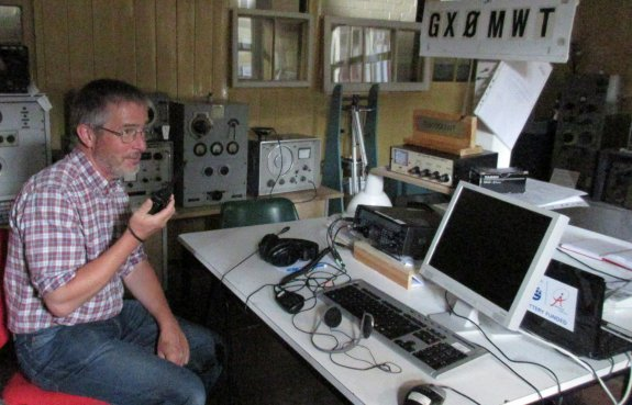 Jim 2E0RMI calling out on a handheld from the 2MT shack