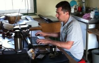 Charlie M0PZT working data at Sandford Mill