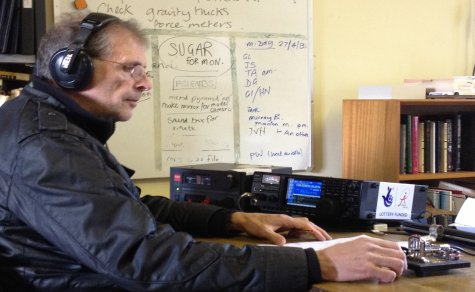 Steve G4ZUL, working Japan on CW from Sandford Mill