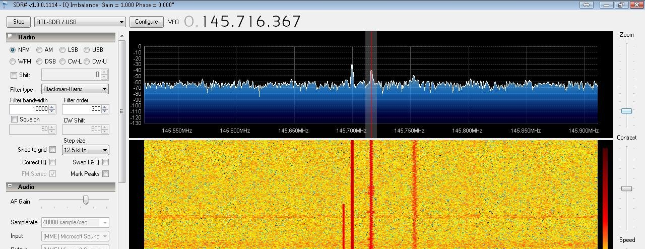 SDRSharp showing the output of the GB3DA repeater on 145.725MHz