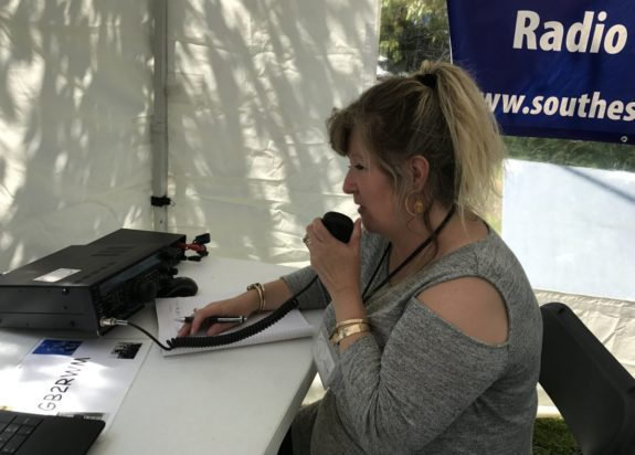 Dorothy M0LMR on the mic at the mill (May 2017)