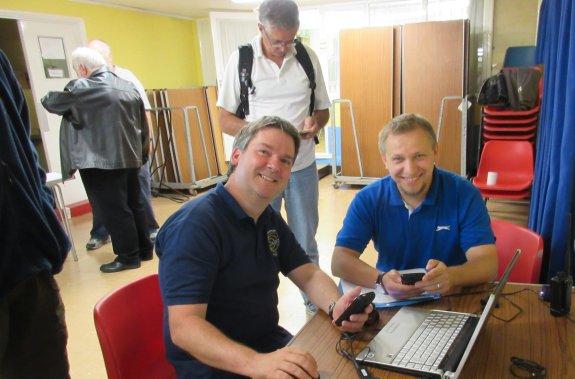 John 9H5G (standing), visiting from Malta, watching the SSTV Demo