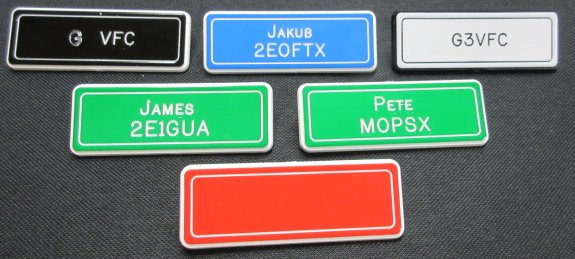 Some of the badges produced by Jim 2E0JTW