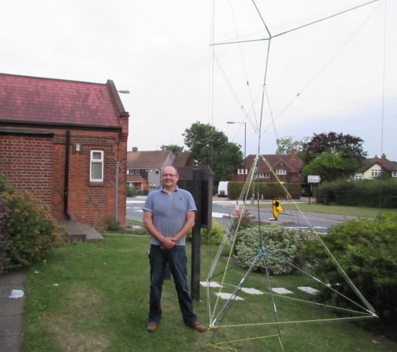 Andy G7TKK with his Tetrahedral antenna