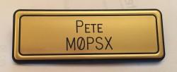 Gold callsign badge, created by Jim 2E0JTW