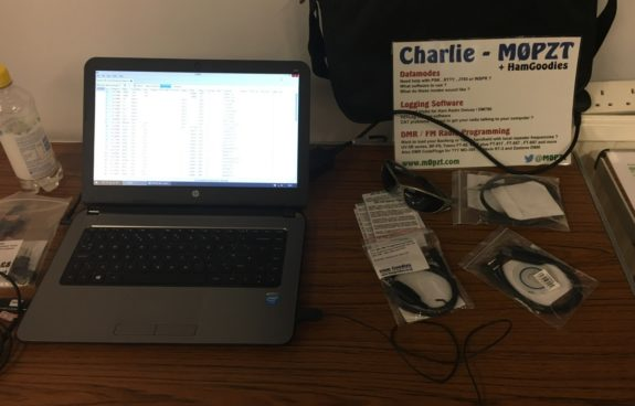 Charlie's programming PC and leads at the June 2017 Skills Night