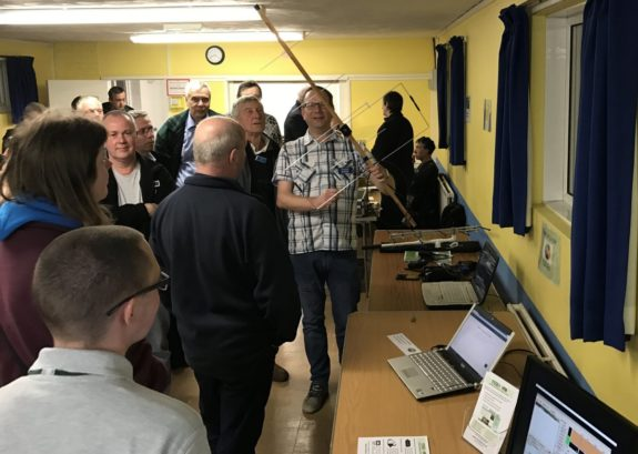Steve M0SHQ, demonstrating satellites and hotspots at the March 2017 Skills Night