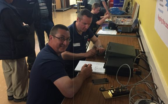 Dean and Rob running a live CW station at the May 2016 Skills Night