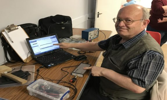 Mike G4NVT with his new shiny Spectrum Analyser