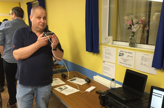 Paul G7BHE demonstrating digital voice (DMR and D-Star at Skills Nov 2015)