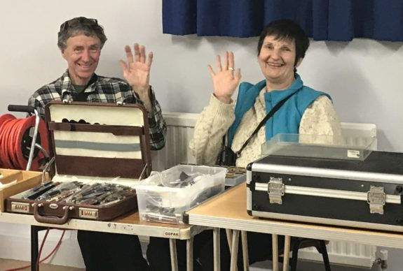 Jim, Glynis and the engraver