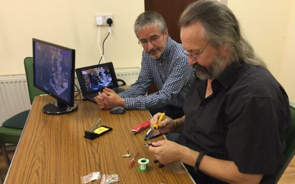 Jim 2E0RMI with Chris G0IPU, making patch leads