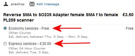 SMA to SO-239 Adapter - eBay Delivery Costs