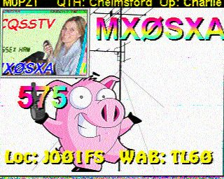 SSTV Image from Charlie M0PZT - Happy Hamming?