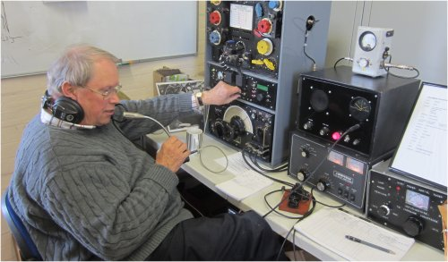 Peter G3SUY operating the T1154/R1155 in the GB0SMA shack