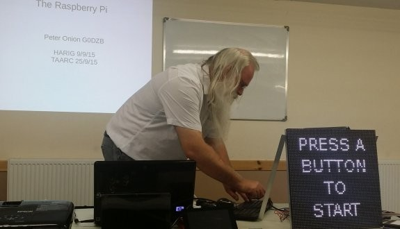 Press to start Peter's Pi presentation at TAARC (Pic: Ricky M6DII)