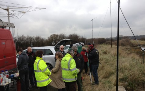 Essex Hams gathering in the cold of Two Tree Island|