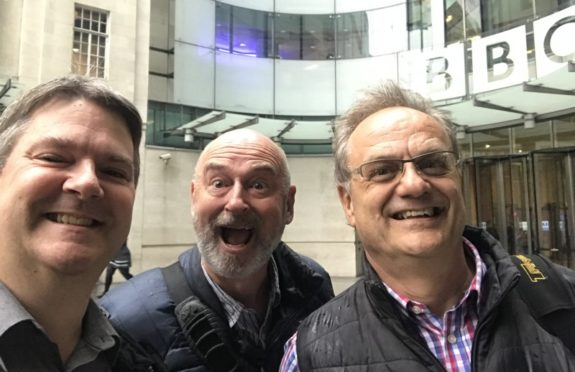 TX Factor's Pete, Nick and Bob outside New Broadcasting House. So that's all good!