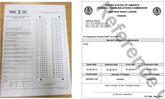US Exam Paper and FCC Licence paperwork