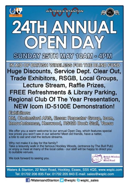 Waters & Stanton Open Day Sunday 24 May