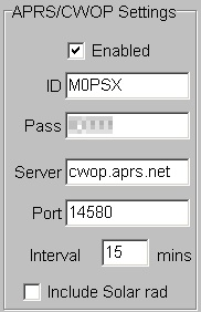 Cumulus APRS settings